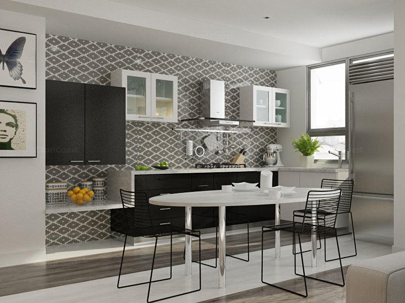 Chicory L-shaped Modular Kitchen Designs India | HomeLane